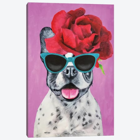 Fashion Bulldog Pink Canvas Print #COC156} by Coco de paris Canvas Print