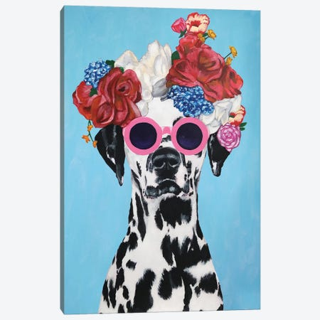 Fashion Dalmatian Blue Canvas Print #COC158} by Coco de paris Canvas Wall Art