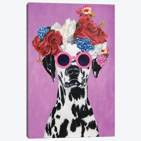 Fashion Dalmatian Pink Canvas Print #COC159} by Coco de paris Canvas Wall Art