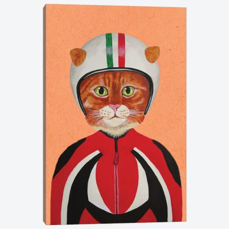 Cat With Helmet Canvas Print #COC15} by Coco de Paris Canvas Artwork