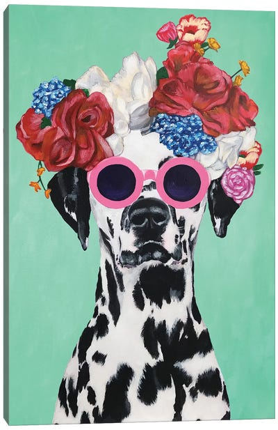 Fashion Dalmatian Turquoise Canvas Art Print