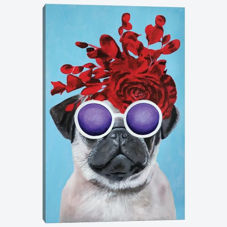 Fashion Pug Blue Canvas Print #COC161} by Coco de paris Canvas Print
