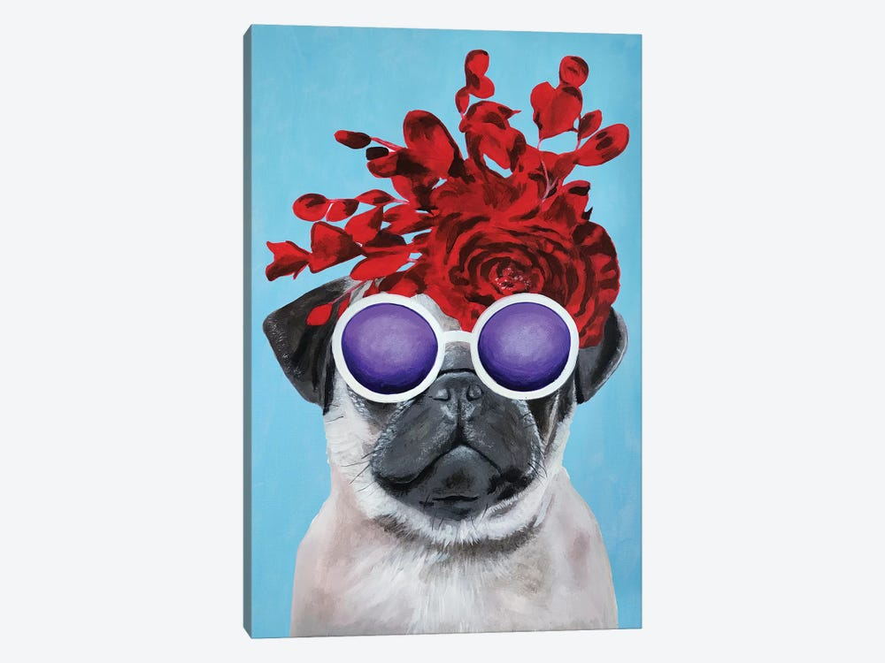 Fashion Pug Blue by Coco de paris 1-piece Canvas Art Print