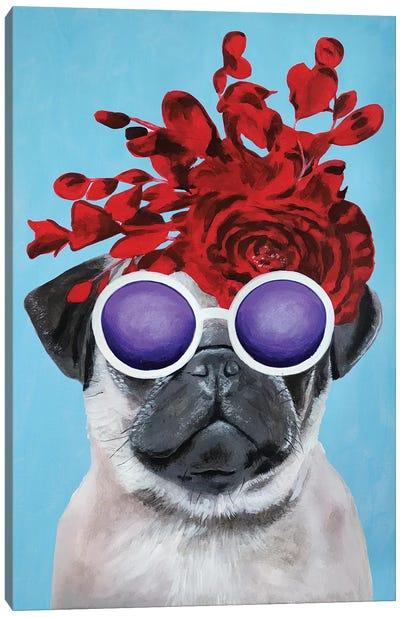 Fashion Pug Blue Canvas Art Print
