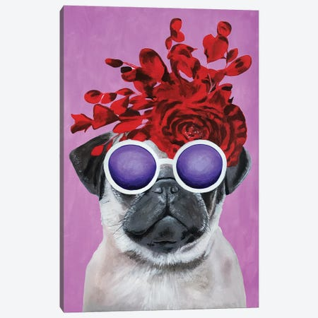 Fashion Pug Pink Canvas Print #COC162} by Coco de paris Canvas Art Print