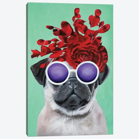 Fashion Pug Turquoise Canvas Print #COC163} by Coco de paris Canvas Print