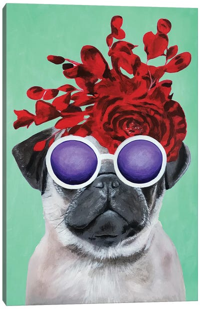 Fashion Pug Turquoise Canvas Art Print