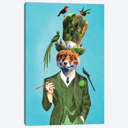 Fox With Hat And Birds Canvas Print #COC165} by Coco de paris Canvas Artwork