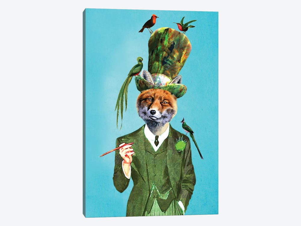 Fox With Hat And Birds by Coco de paris 1-piece Canvas Art Print