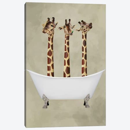 Giraffes In Bathtub Canvas Print #COC167} by Coco de paris Canvas Wall Art