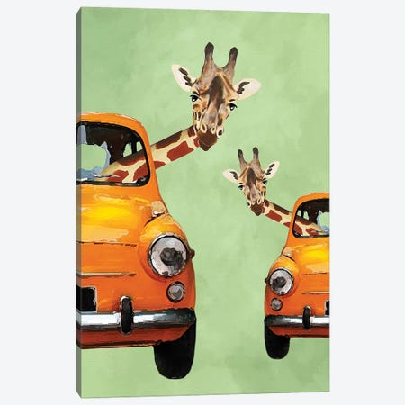 Giraffes In Yellow Cars Canvas Print #COC168} by Coco de Paris Canvas Art Print