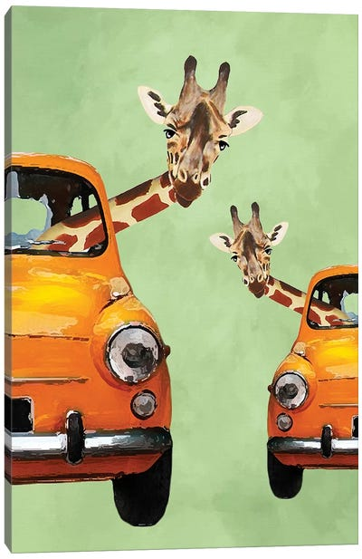 Giraffes In Yellow Cars Canvas Art Print