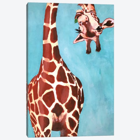 Giraffes With Green Leaf Canvas Print #COC169} by Coco de paris Canvas Print