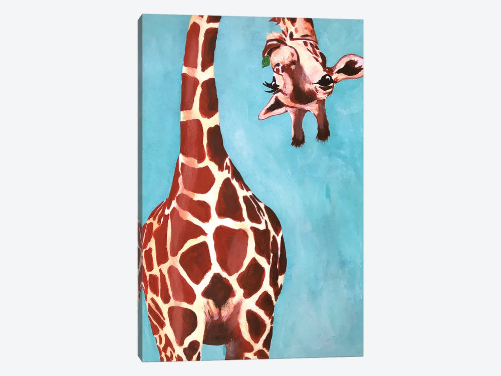 Giraffes With Green Leaf by Coco de Paris 1-piece Canvas Art Print