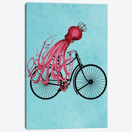 Octopus On Bicycle Canvas Print #COC171} by Coco de paris Canvas Artwork