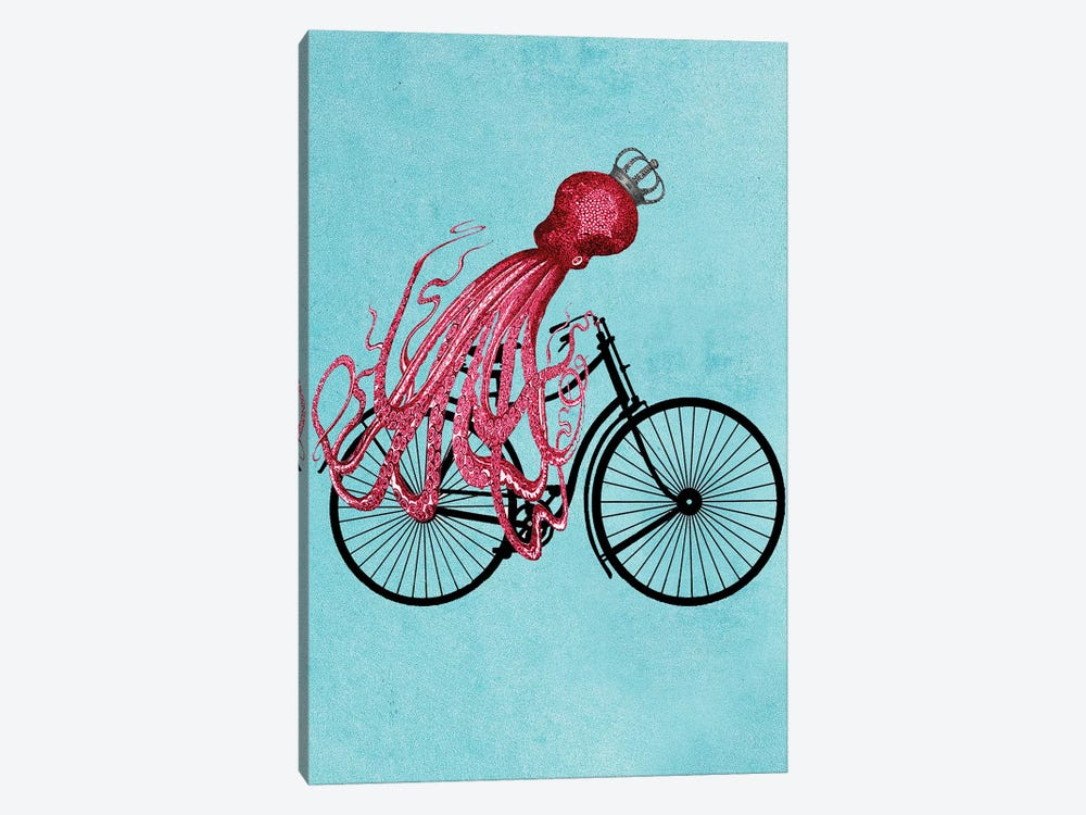 Octopus On Bicycle 1-piece Canvas Wall Art