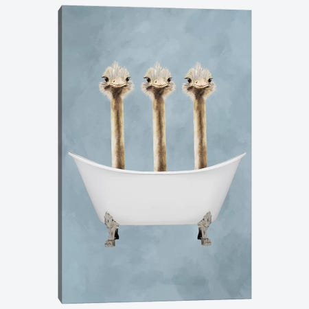Ostriches In Bathtub Canvas Print #COC172} by Coco de Paris Canvas Artwork