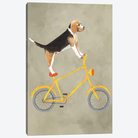 Beagle On Bicycle Canvas Print #COC177} by Coco de Paris Canvas Art Print
