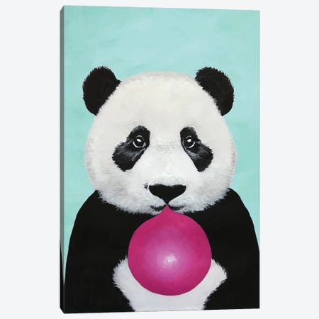 Bubblegum Panda, Turquoise Canvas Print #COC180} by Coco de Paris Canvas Print