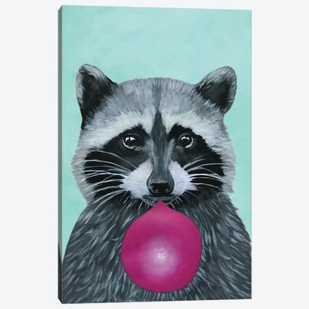 Bubblegum Raccoon, Turquoise Canvas Print #COC181} by Coco de Paris Canvas Print