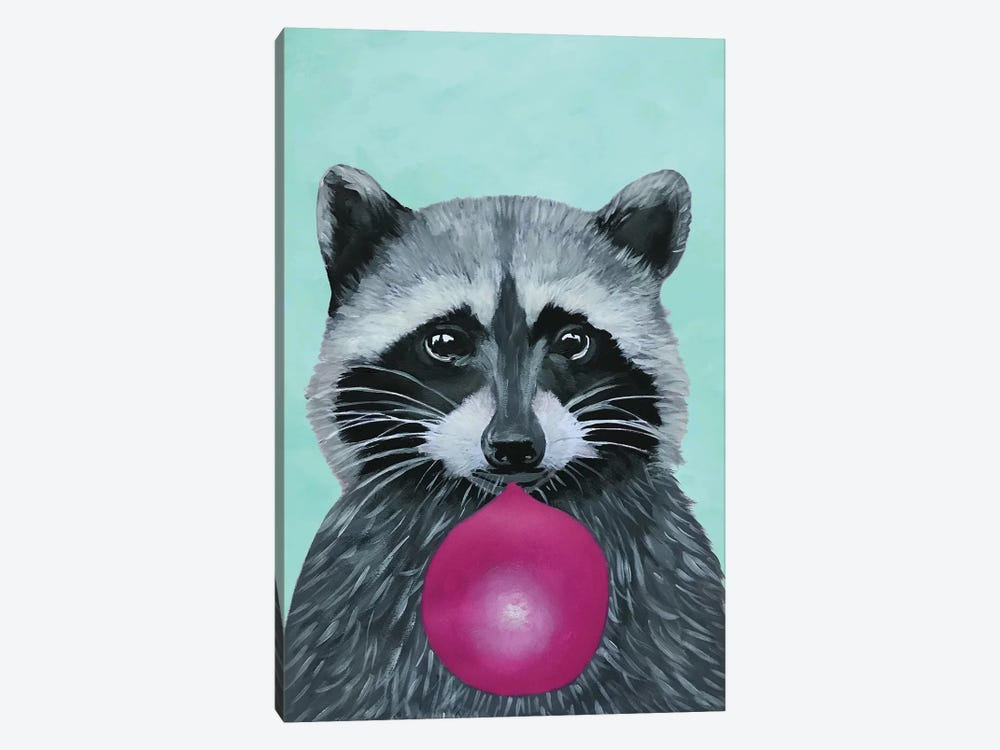 Bubblegum Raccoon, Turquoise by Coco de Paris 1-piece Art Print