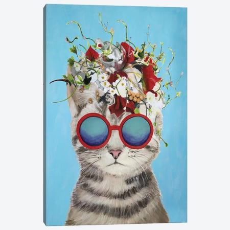 Cat Flower Power, Blue Canvas Print #COC184} by Coco de paris Canvas Wall Art