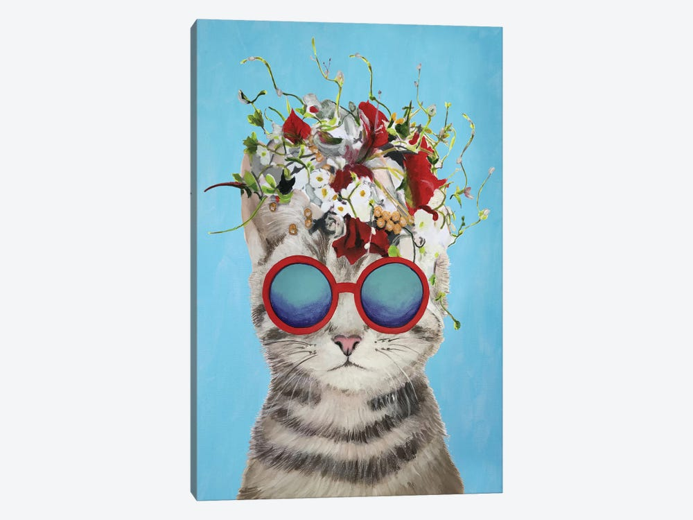 Cat Flower Power, Blue by Coco de Paris 1-piece Canvas Artwork