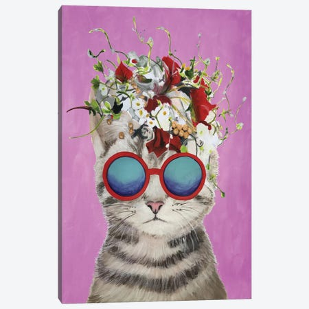 Cat Flower Power, Pink Canvas Print #COC185} by Coco de Paris Canvas Artwork
