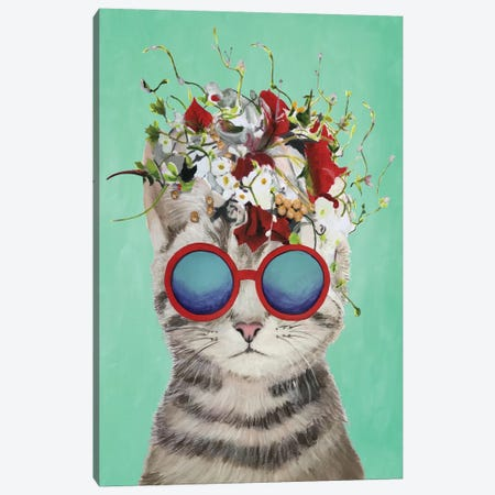 Cat Flower Power, Turquoise Canvas Print #COC186} by Coco de Paris Canvas Wall Art