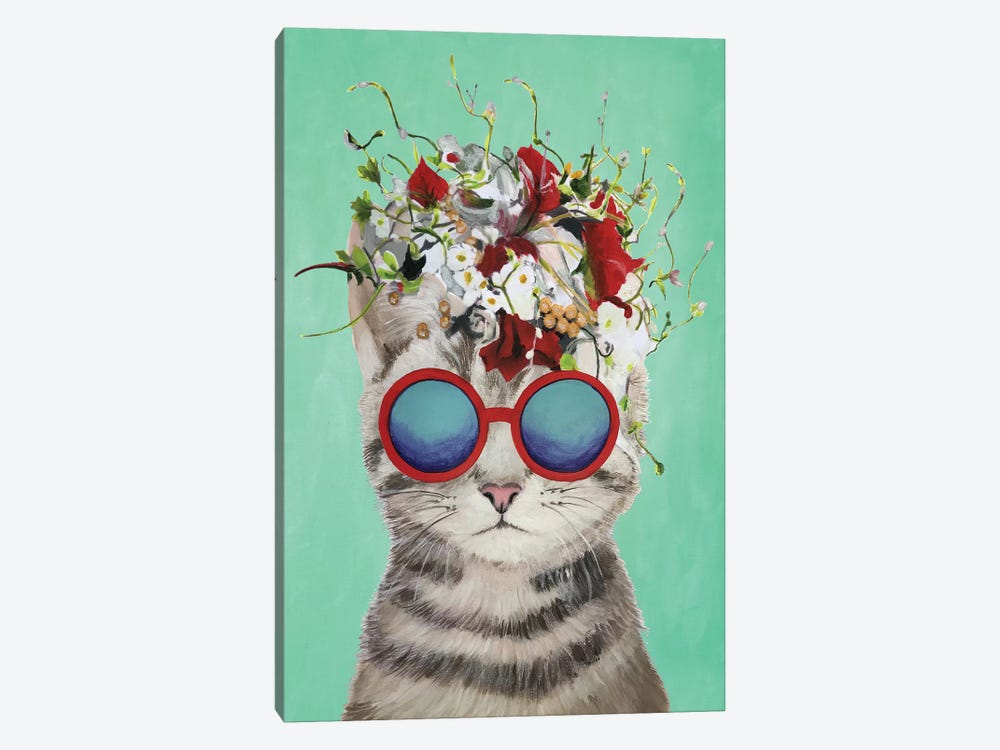 Cat Flower Power, Turquoise 1-piece Canvas Wall Art