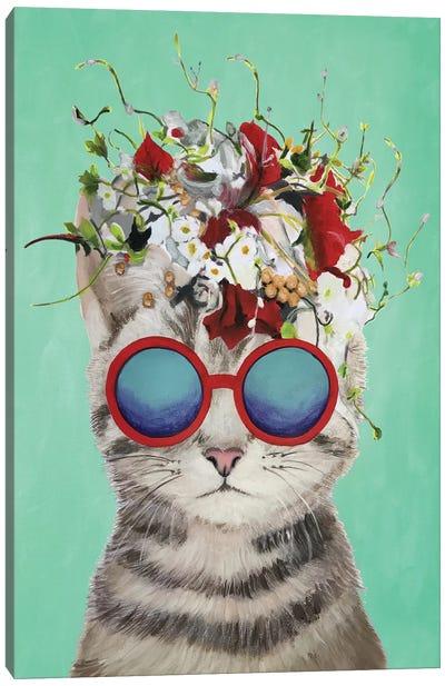 Cat Flower Power, Turquoise Canvas Art Print