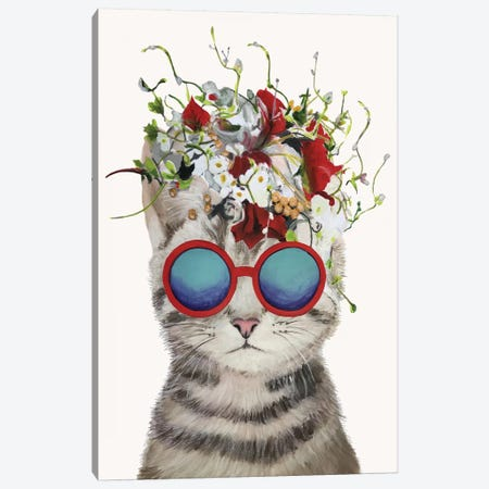 Cat Flower Power, White Canvas Print #COC187} by Coco de Paris Canvas Wall Art