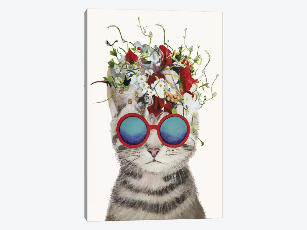 Cat Flower Power, White by Coco de Paris 1-piece Canvas Art Print