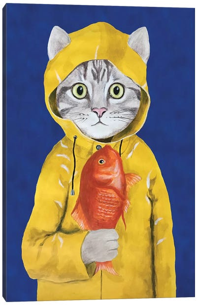 Cat With Fish Canvas Art Print