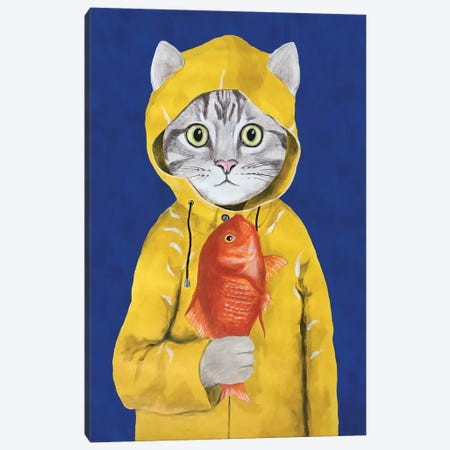 Cat With Fish Canvas Print #COC188} by Coco de Paris Canvas Print