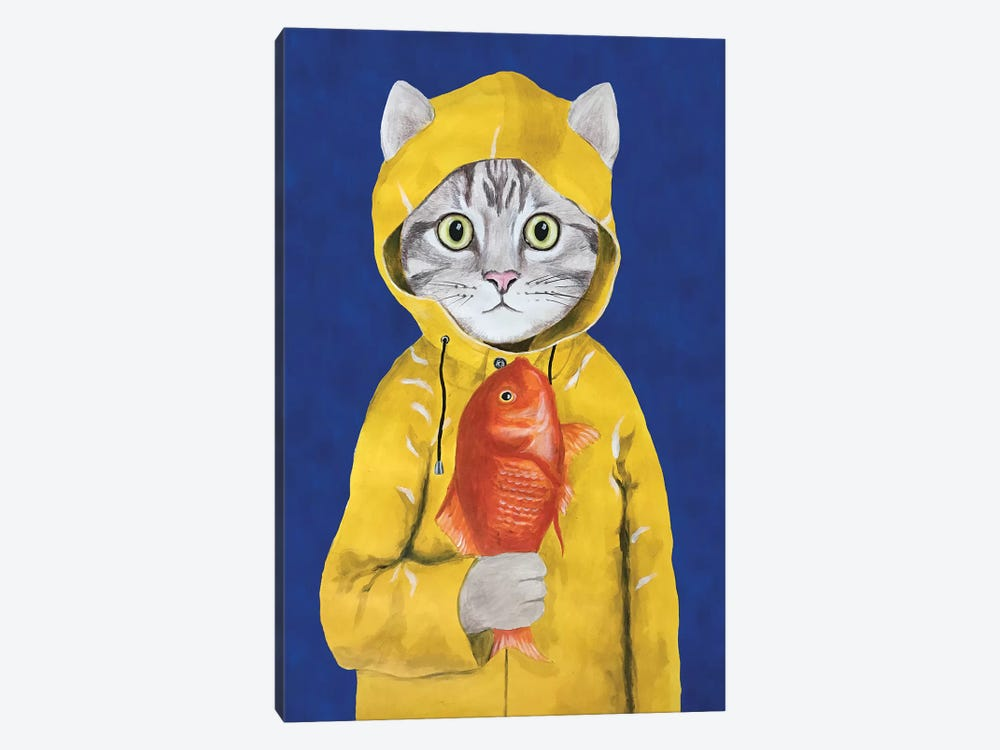 Cat With Fish 1-piece Canvas Art