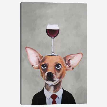 Chihuahua With Wineglass Canvas Print #COC18} by Coco de paris Canvas Art Print