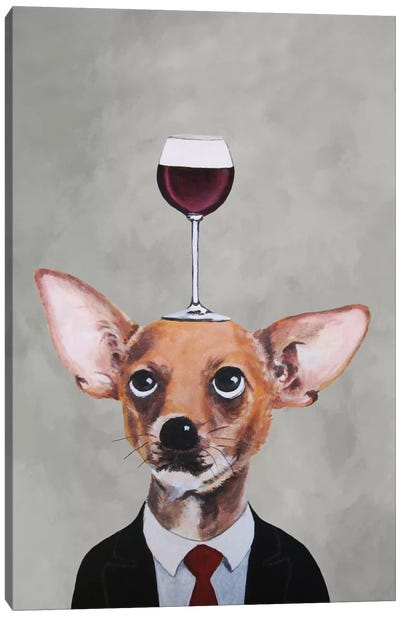 Chihuahua With Wineglass Canvas Art Print