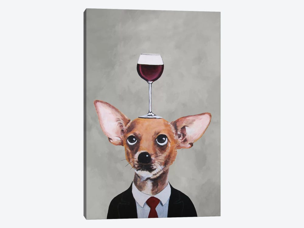 Chihuahua With Wineglass 1-piece Canvas Print