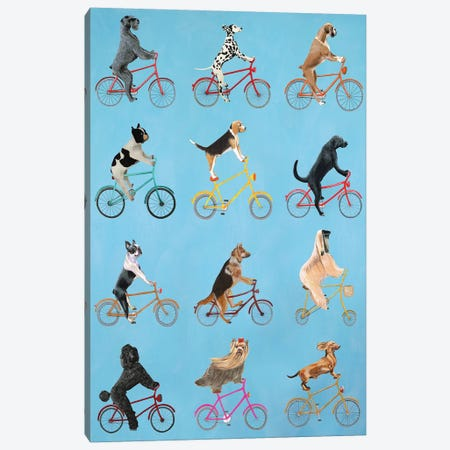 Cycling Dogs Canvas Print #COC191} by Coco de paris Canvas Art