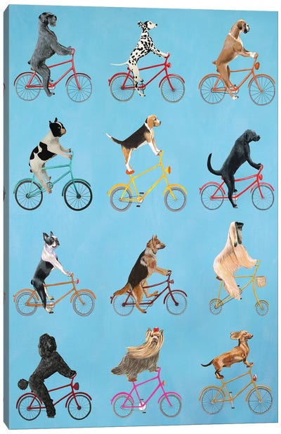 Cycling Dogs Canvas Art Print
