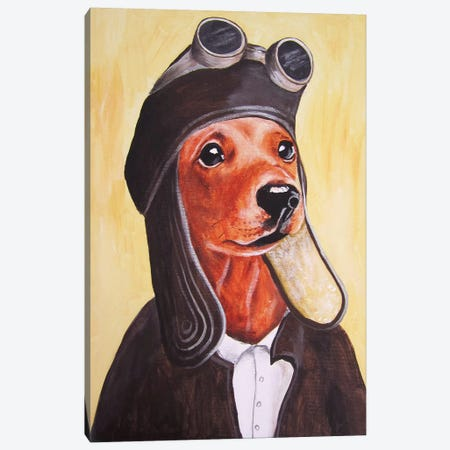 Dachshund Vintage Pilot Canvas Print #COC192} by Coco de Paris Canvas Art