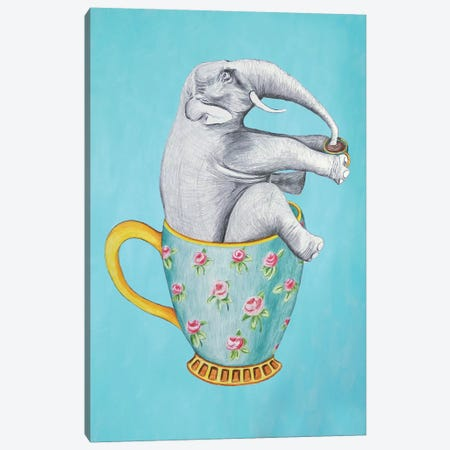 Elephant In Cup, Blue Canvas Print #COC197} by Coco de Paris Canvas Art Print
