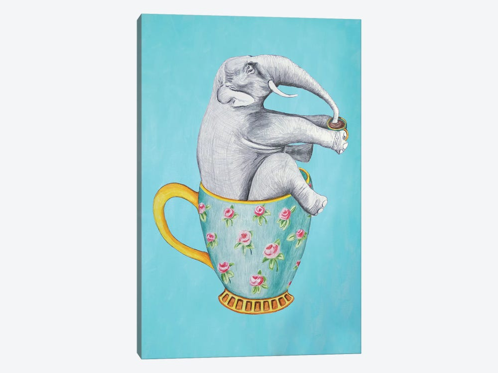 Elephant In Cup, Blue by Coco de Paris 1-piece Canvas Artwork