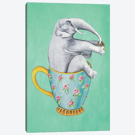 Elephant In Cup, Turquoise 3-Piece Canvas #COC198} by Coco de Paris Canvas Wall Art
