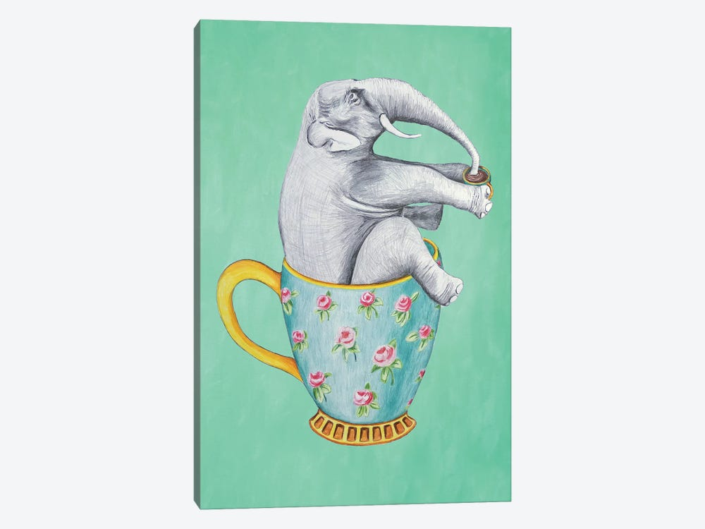 Elephant In Cup, Turquoise by Coco de Paris 1-piece Canvas Print