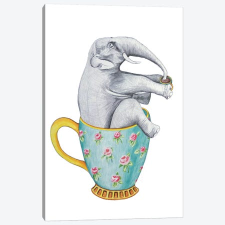 Elephant In Cup, White Canvas Print #COC199} by Coco de Paris Canvas Wall Art