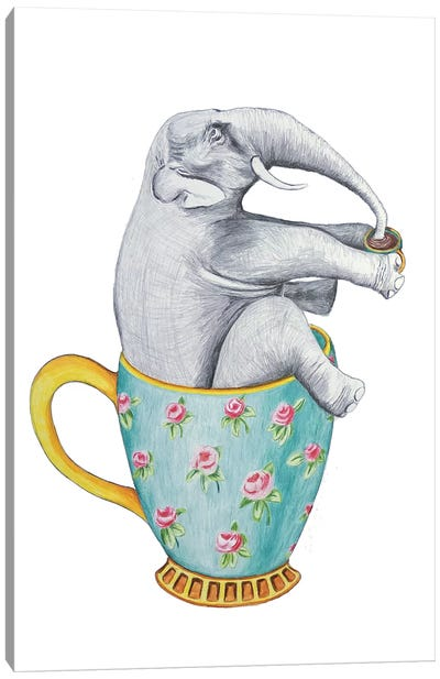 Elephant In Cup, White Canvas Art Print