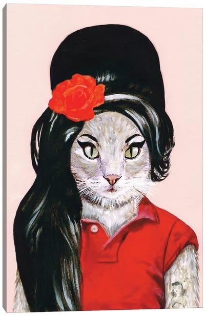 Amy Winehouse Cat Canvas Art Print
