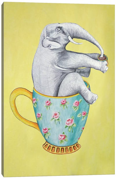 Elephant In Cup, Yellow Canvas Art Print